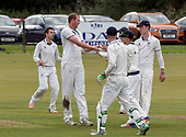 Cricket Scotland National League Final - Prestwick CC V Heriots CC at Meikleriggs, Paisley (Ferguslie CC) - Heriots bowler Adrian Neil celebrate one of his wickets, taking 4 for 18 in the innings - picture by Donald MacLeod - 02.09.2017 - 07702 319 738 - clanmacleod@btinternet.com - www.donald-macleod.com