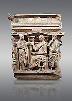 "End panel of a Roman relief sculpted Hercules sarcophagus with kline couch lid, ""Columned Sarcophagi of Asia Minor"" style typical of Sidamara, 250-260 AD, Konya Archaeological Museum, Turkey. Against a grey background"