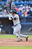 Hickory Crawdads first baseman Preston Scott (8) swings at a pitch during a game against the Asheville Tourists at McCormick Field on August 16, 2018 in Asheville, North Carolina. The Crawdads defeated the Tourists 3-0. (Tony Farlow/Four Seam Images)