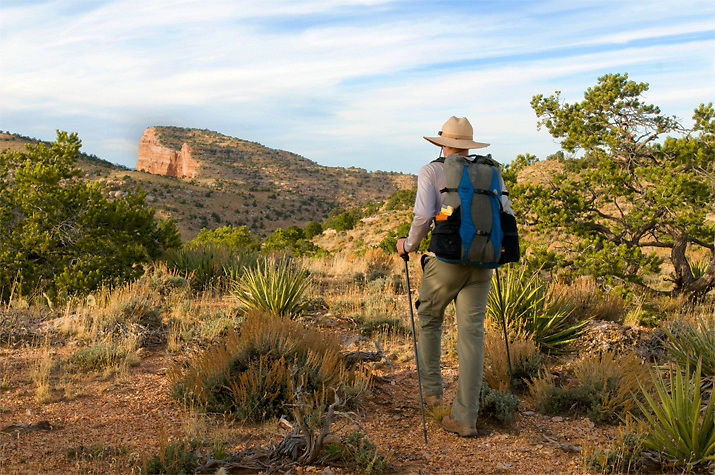 Dave hikes across the scrub desert towards Commanche Point, the highest point on the South Rim of Grand Canyon. AZ