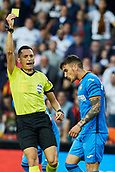 17th March 2019, Mestalla Stadium, Valencia, Spain; La Liga football, Valencia versus Getafe; referee Sanchez shows a yellow card to Martinez Mauro Arambarri of Getafe, minute 25'
