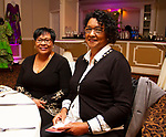 WATERBURY, CT - 19 MAY - 051918JW18.jpg --  Elise Bentley and Jorgette Gary pose for a photo during the National Congress of Black Women scholarship awards luncheon at La Bella Vista Saturday Afternoon.  Jonathan Wilcox Republican-American