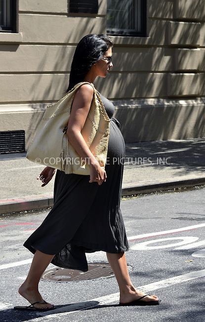 WWW.ACEPIXS.COM<br /> <br /> August 16 2013, New York City<br /> <br /> Hilaria Thomas Baldwin walks in her East Village neighborhood on August 16 2013 in New York City<br /> <br /> By Line: Curtis Means/ACE Pictures<br /> <br /> <br /> ACE Pictures, Inc.<br /> tel: 646 769 0430<br /> Email: info@acepixs.com<br /> www.acepixs.com
