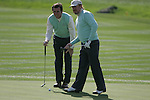 Gonzalo Fernandez-Castano and Miguel Angel Jiminez line up their putt on the 6th green during the first round of the Seve Trophy at The Heritage Golf Resort, Killenard,Co.Laois, Ireland 27th September 2007 (Photo by Eoin Clarke/GOLFFILE)