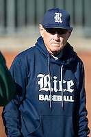 Rice Owls head coach Wayne Graham (37) prior to the game against the Charlotte 49ers at Hayes Stadium on March 6, 2015 in Charlotte, North Carolina.  The Owls defeated the 49ers 4-2.  (Brian Westerholt/Four Seam Images)