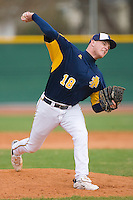 Relief pitcher Blaine McCraw #18 of the North Carolina A&T Aggies in action versus the High Point Panthers at War Memorial Stadium March 16, 2010, in Greensboro, North Carolina.  Photo by Brian Westerholt / Four Seam Images