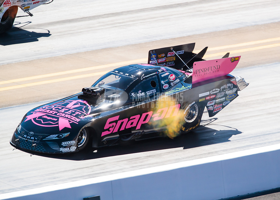 Oct 13, 2018; Concord, NC, USA; NHRA funny car driver Cruz Pedregon during qualifying for the Carolina Nationals at zMax Dragway. Mandatory Credit: Mark J. Rebilas-USA TODAY Sports