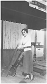 Lady with freight hand truck.<br /> RGS  Placerville, CO