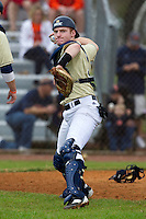 Notre Dame Fighting Irish catcher Forrest Johnson #30 during warmups before a game against the Illinois Fighting Illini at the Big Ten/Big East Challenge at Walter Fuller Complex on February 17, 2012 in St. Petersburg, Florida.  (Mike Janes/Four Seam Images)