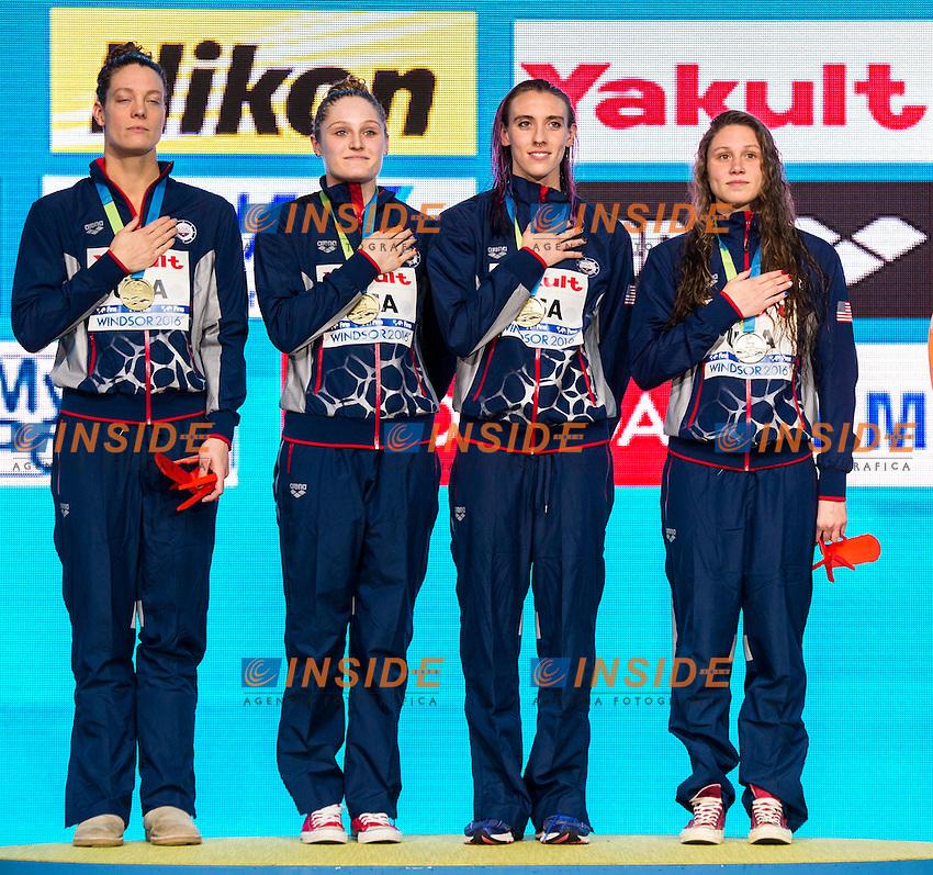 United States USA Gold Medal<br /> Women's 4x100m Freestyle <br /> WEIR Amanda WORRELL Kelsi KENNEDY Madison COMERFORD Mallory Elizabeth  <br /> 13th Fina World Swimming Championships 25m <br /> Windsor  Dec. 6th, 2016 - Day01 Finals<br /> WFCU Centre - Windsor Ontario Canada CAN <br /> 20161206 WFCU Centre - Windsor Ontario Canada CAN <br /> Photo &copy; Giorgio Scala/Deepbluemedia/Insidefoto
