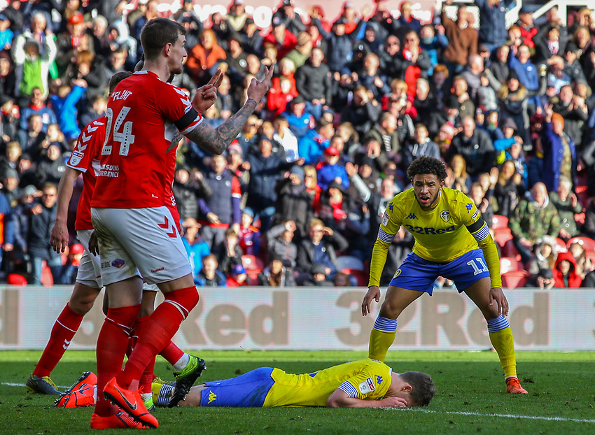 Leeds United's Patrick Bamford rues a missed opportunity<br /> <br /> Photographer Alex Dodd/CameraSport<br /> <br /> The EFL Sky Bet Championship - Middlesbrough v Leeds United - Saturday 9th February 2019 - Riverside Stadium - Middlesbrough<br /> <br /> World Copyright © 2019 CameraSport. All rights reserved. 43 Linden Ave. Countesthorpe. Leicester. England. LE8 5PG - Tel: +44 (0) 116 277 4147 - admin@camerasport.com - www.camerasport.com
