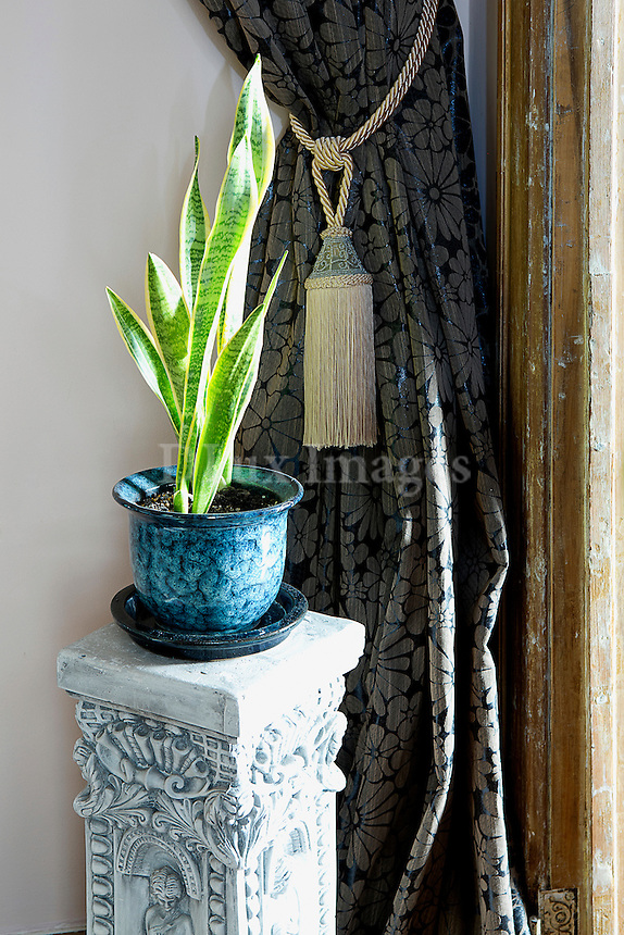 Blue flowerpot on carved stand