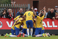Brazil celebrate there first goal during the International match between England U20 and Brazil U20 at the Aggborough Stadium, Kidderminster, England on 4 September 2016. Photo by Andy Rowland / PRiME Media Images.