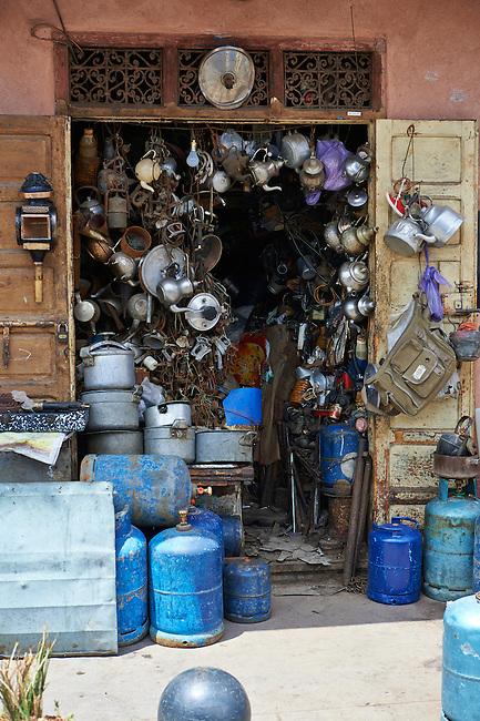 Shop selling household goods of the Medina souk, Marrakesh, Morroco