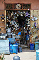 Shop selling household goods of the Medina souk, Marrakesh, Morroco