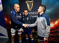 2019 Six Nations Championship Round 1, BT Murrayfield, Scotland 2/2/2019 Scotland vs Italy Italy captain Sergio Parisse and Scotland captain Greig Laidlaw with referee Luke Pearce at the coin toss Sergio Parisse and Greig Laidlaw with Luke Pearce at the coin toss 2/2/2019 Foto INPHO/Imago/Ryan Byrne/Insidefoto