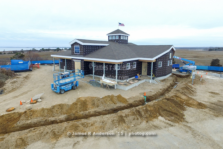 Meigs Point Nature Center at Hammonasset Beach State Park  <br /> Connecticut State Project No: BI-T-601<br /> Architect: Northeast Collaborative Architects  Contractor: Secondino & Son<br /> James R Anderson Photography New Haven CT photog.com<br /> Date of Photograph: 21 December 2015<br /> Camera View: 32 - Aerial by Quadcopter