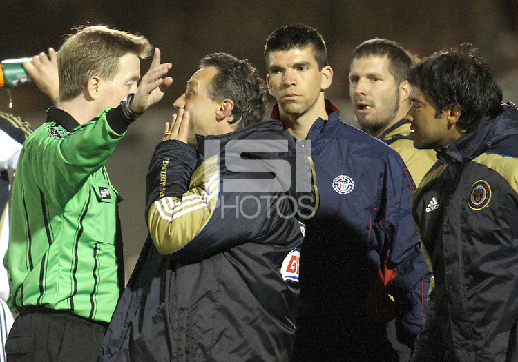 Peter Nowak coach of the Philadelphia Union is sent off with a red card by referee Andrew Chapin during a play-in game for the US Open Cup tournament against D.C. United at Maryland Sportsplex, in Boyds, Maryland on April 6 2011. D.C. United won 3-2 after overtime penalty kicks.
