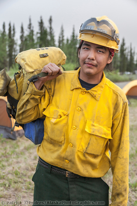 Firefighter Larry Mark Jr. from Tok, Alaska, on the Eagle Trail wildland forest fire, May 2010.