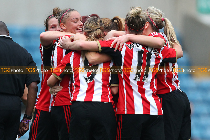 Sunderland players celebrate their third goal - Millwall Lionesses vs Sunderland AFC Ladies - FA Womens Super League Football at Milwall FC, the New Den, London - 26/10/14 - MANDATORY CREDIT: Gavin Ellis/TGSPHOTO - Self billing applies where appropriate - contact@tgsphoto.co.uk - NO UNPAID USE