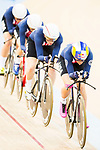 The team of USA with Kelly Catlin, Chloe Dygert, Kimberly Geist and Jennifer Valente competes in the Women's Team Pursuit - 1st Round as part of the 2017 UCI Track Cycling World Championships on 13 April 2017, in Hong Kong Velodrome, Hong Kong, China. Photo by Marcio Rodrigo Machado / Power Sport Images