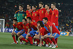 21 JUN 2010: Spain's starters pose for a team photo. Front row (l to r): Jesus Navas (ESP), Xavi (ESP), David Villa (ESP), Carles Puyol (ESP), Joan Capdevila (ESP). Back row (l to r): Iker Casillas (ESP), Sergio Busquets (ESP), Sergio Ramos (ESP), Gerard Pique (ESP), Xabi Alonso (ESP), Fernando Torres (ESP).. The Spain National Team defeated the Honduras National Team 2-0 at Ellis Park Stadium in Johannesburg, South Africa in a 2010 FIFA World Cup Group H match..
