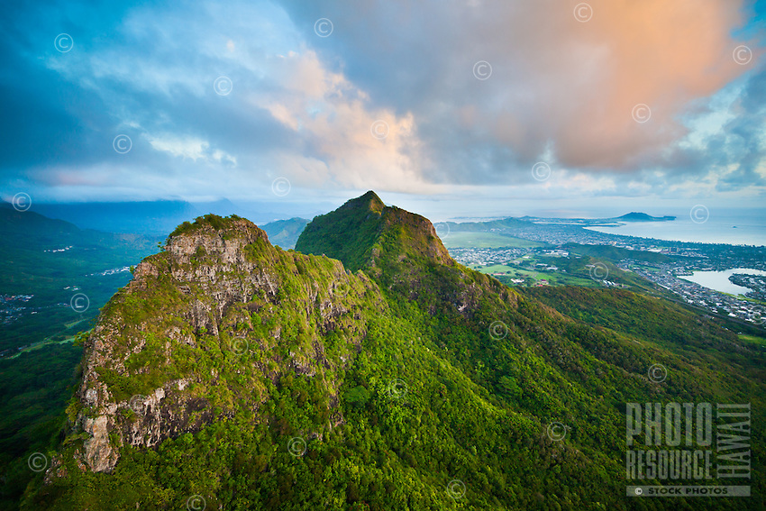 The peaks of Olomana (or Mount Olomana), with Ka'elepulu Pond and Kailua Bay in the distance, Windward O'ahu.
