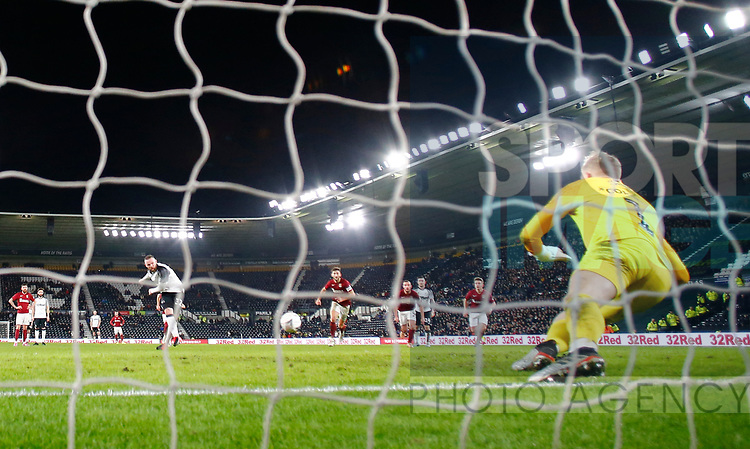 Wayne Rooney of Derby County scores from the penalty spot during the FA Cup match at the Pride Park Stadium, Derby. Picture date: 4th February 2020. Picture credit should read: Darren Staples/Sportimage