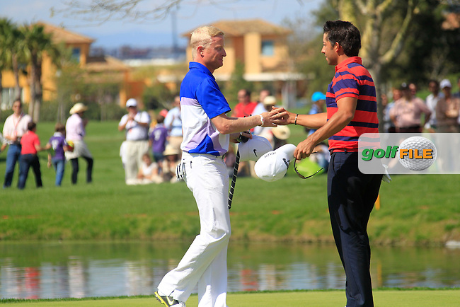 Simon Dyson (ENG) and Pablo Larrazabal (ESP) finish their match on the 18th green during Sunday's Final Round of the Open de Espana at Real Club de Golf de Sevilla, Seville, Spain, 6th May 2012 (Photo Eoin Clarke/www.golffile.ie)