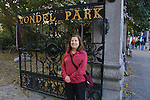 Beth at the entrance to Vondel Park, Amsterdam, Netherlands