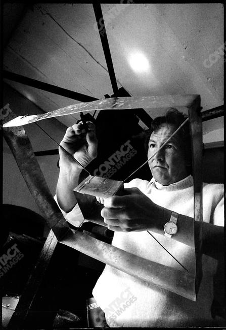 Robert Rauschenberg, artist, in his studio in France, 1973