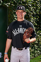 Pitcher Cameron Varga (23) of Cincinnati Hills Christian Academy in Loveland, Ohio poses for a photo before the Under Armour All-American Game on August 24, 2013 at Wrigley Field in Chicago, Illinois.  (Mike Janes/Four Seam Images)