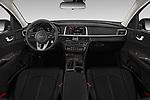 Stock photo of straight dashboard view of a 2019 KIA Optima LX 4 Door Sedan