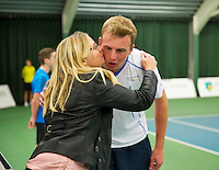 Januari 24, 2015, Rotterdam, ABNAMRO, Supermatch, Glenn Smits is being congratulated<br /> Photo: Tennisimages/Henk Koster