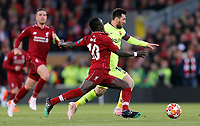 Barcelona's Lionel Messi under pressure from Liverpool's Sadio Mane<br /> <br /> Photographer Rich Linley/CameraSport<br /> <br /> UEFA Champions League Semi-Final 2nd Leg - Liverpool v Barcelona - Tuesday May 7th 2019 - Anfield - Liverpool<br />  <br /> World Copyright &copy; 2018 CameraSport. All rights reserved. 43 Linden Ave. Countesthorpe. Leicester. England. LE8 5PG - Tel: +44 (0) 116 277 4147 - admin@camerasport.com - www.camerasport.com