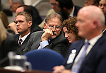 Nevada Gov. Brian Sandoval's top staff, from left, Chris Nielsen, Mike Willden and Michon Martin listen to testimony in a joint money committee hearing at the Legislative Building in Carson City, Nev., on Monday, May 25, 2015. The group fielded detailed questions and concerns Monday about the governor's latest tax proposal to fund his education agenda.<br /> Photo by Cathleen Allison