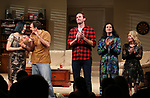 Young Jean Lee, Paul Schneider, Armie Hammer, Ty Defoe and Carole Rothman during the Broadway opening night curtain Call of 'Straight White Men' at Hayes Theater on July 23, 2018 in New York City.