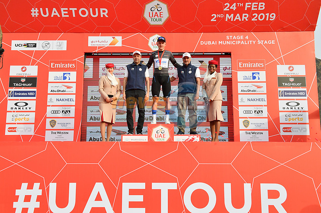 Stepan Kuriyanov (RUS) Gazprom–Rusvelo also retains the Black Jersey at the end of Stage 4 of the 2019 UAE Tour, running 197km form The Pointe Palm Jumeirah to Hatta Dam, Dubai, United Arab Emirates. 26th February 2019.<br /> Picture: LaPresse/Massimo Paolone | Cyclefile<br /> <br /> <br /> All photos usage must carry mandatory copyright credit (© Cyclefile | LaPresse/Massimo Paolone)