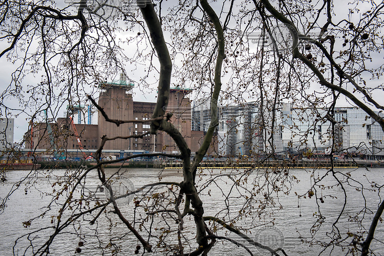The River Thames beside the Nine Elms development site and Battersea Power Station.
