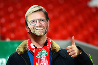 A Liverpool fan wearing a Jurgen Klopp mask gives a thumbs up<br /> <br /> Photographer Richard Martin-Roberts/CameraSport<br /> <br /> UEFA Champions League Group C - Liverpool v Napoli - Tuesday 11th December 2018 - Anfield - Liverpool<br />  <br /> World Copyright © 2018 CameraSport. All rights reserved. 43 Linden Ave. Countesthorpe. Leicester. England. LE8 5PG - Tel: +44 (0) 116 277 4147 - admin@camerasport.com - www.camerasport.com