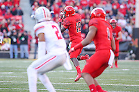 College Park, MD - November 12, 2016: Maryland Terrapins wide receiver Teldrick Morgan (19) catches a pass during game between Ohio St. and Maryland at  Capital One Field at Maryland Stadium in College Park, MD.  (Photo by Elliott Brown/Media Images International)