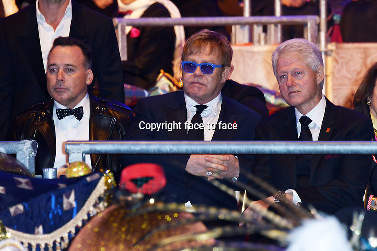 "David Furnish (husband of Elton_John), Elton John and Bill Clinton attending for the LIFE BALL 2013 AIDS charity fundraiser ""1001 Nights-Love Wins Over Glamour"" at City Hall on 25th May 2013 in Vienna, Austria. Credit: Timm/face to face"