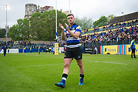 George Ford of Bath Rugby applauds the crowd after the match on the occasion of his final home appearance for the club. Aviva Premiership match, between Bath Rugby and Gloucester Rugby on April 30, 2017 at the Recreation Ground in Bath, England. Photo by: Patrick Khachfe / Onside Images