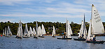 MIDDLEBURY, CT - 22 AUGUST 2015 - 082215JW07.jpg -- Sailboats line up for the first race of The Board of Governor's Regatta in front of Quassy Amusement Park Saturday afternoon. Jonathan Wilcox Republican-American