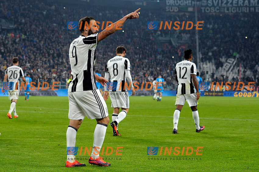 Esultanza Gol Gonzalo Higuain Juventus Goal celebration 2-1 <br /> Torino 29-10-2016 Juventus Stadium Football Calcio Serie A 2016/2017 Juventus - Napoli . Foto Filippo Alfero Insidefoto