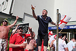 10 June 2006: England fans without tickets sing outside a pub near the FIFA Fan Fest. England played Paraguay at Commerzbank Arena in Frankfurt, Germany in match 3, a Group B first round game, of the 2006 FIFA World Cup.