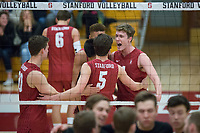 STANFORD, CA - December 30, 2017: Cole Paullin, Jaylen Jasper, JP Reilly, Eric Beatty at Burnham Pavilion. The Stanford Cardinal defeated the Calgary Dinos 3-1.