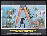 BNPS.co.uk (01202 558833)<br /> Pic: Burstow&amp;Hewett/BNPS<br /> <br /> For Your Eyes Only - James Bond 007 starring Roger Moore.<br /> <br /> A late film buff's collection of 400 vintage movie posters has emerged for auction and is tipped to sell for &pound;15,000.<br /> <br /> The collection was amassed by a man who worked for several decades at the Marble Arch Odeon cinema in London which in its heyday was one of the capital's flagship cinemas.<br /> <br /> He sadly died a couple of years ago but bestowed the posters - which once were on display in the cinema - to a life-long friend who has decided to put them on the market.<br /> <br /> Many of the posters are from classic film franchises including Star Wars and James Bond as well as iconic Disney films such as Snow White and the Seven Dwarfs and Cinderella.