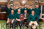 'Waterville do the Double' as they claimed their second County title in a week defeating Tralee Golf Club in the Kerry Intermediate Shield on Sunday, the home side carried an 8 hole lead into the second leg of the final and added another 5 on Sunday to extend their lead, pictured here front l-r; Gerry McSweeney, Vernon Devane(Team Manager), Jack Buckley(Captain Kerry Federation), Noel O'Sullivan(Vice Captain Waterville GC), back l-r; Connor Maher, Eamon McGillicuddy, Liam Higgins, Stephen Dwyer, Stephen Murphy & Shane Lowney.
