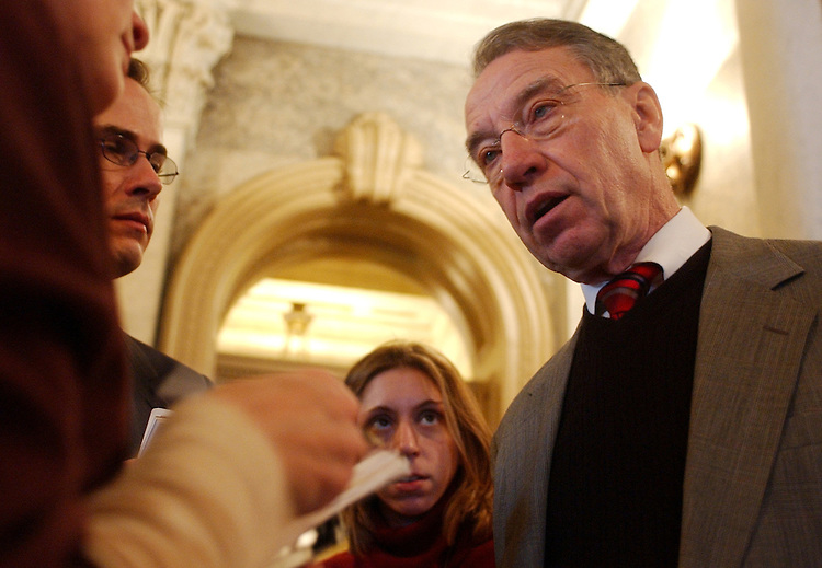 Sen. Chuck Grassley, R-Iowa, speaks to the media after the Senate Luncheons.